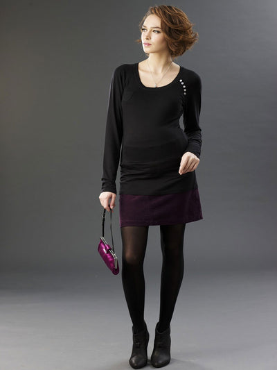Matenity Top with Pocket & Button Details Paired with Maternity Corduroy Skirt and Maternity Tights