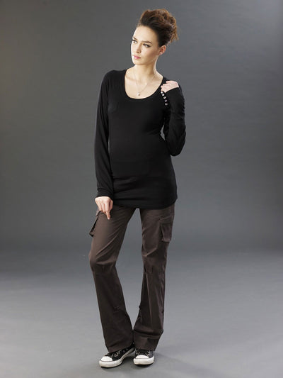 Matenity Top with Pocket & Button Details Paired with Maternity Cargo Pants