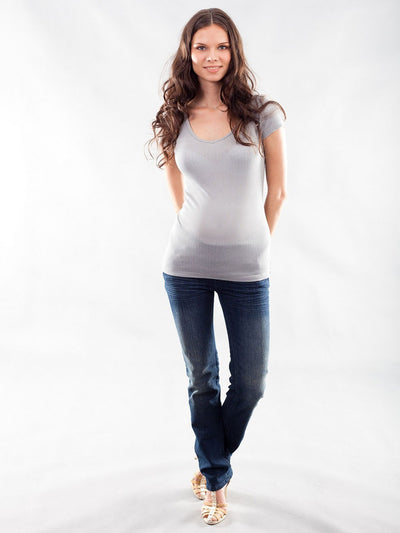 Cotton Maternity Tee Paired with Straight Leg Maternity Jeans