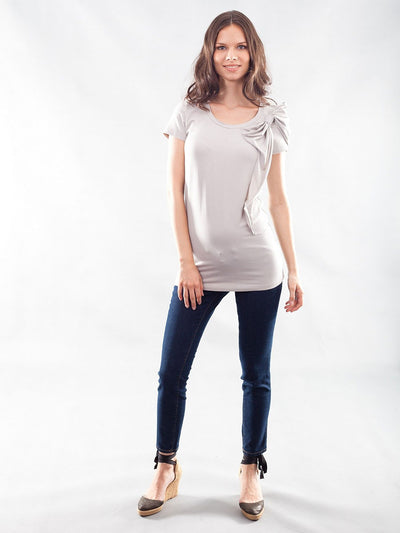 Stretchy Bamboo Maternity Tunic Accommodates Pregnant Belly