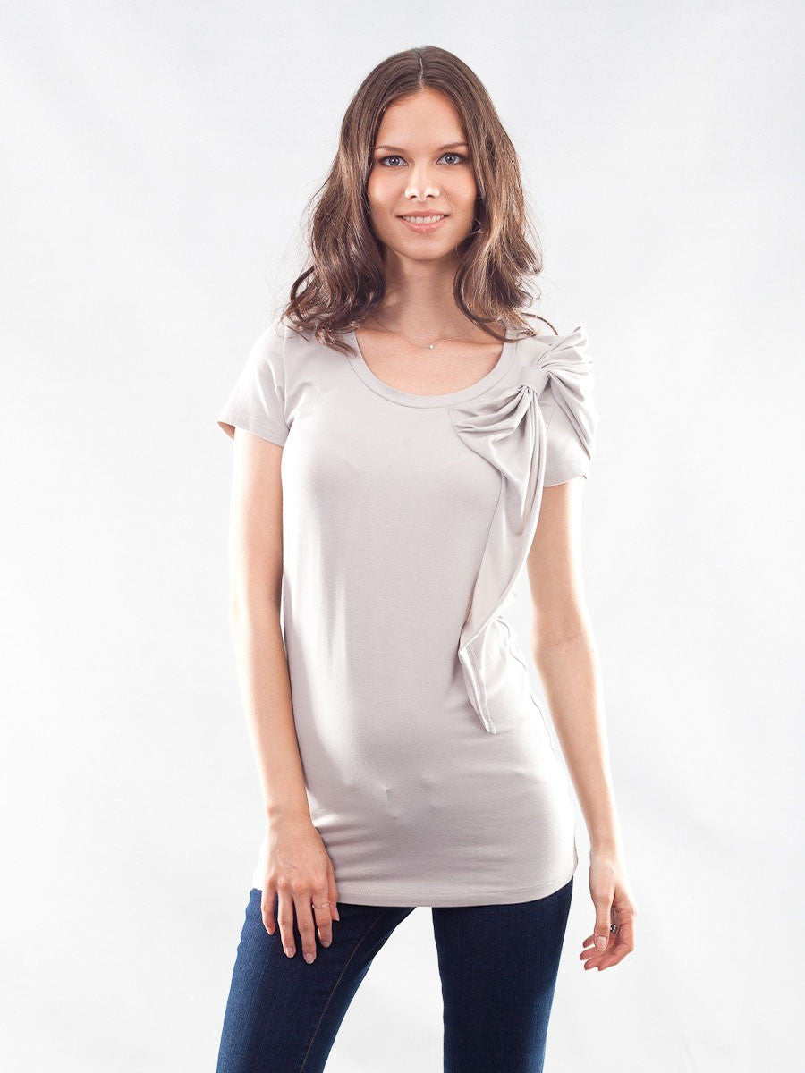Eco Bamboo Maternity Top with Bow Detail