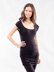 Bareback Shirred Sides Scoop Neck Maternity Tunic