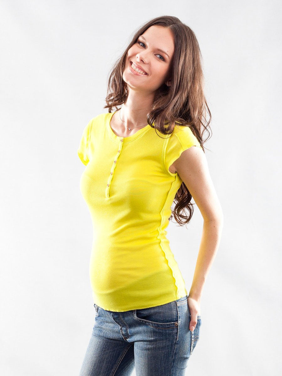 Maternity Henley Tee with Mini Sleeve Pocket - Bright Yellow Color - Button and Unfinished Seam Details