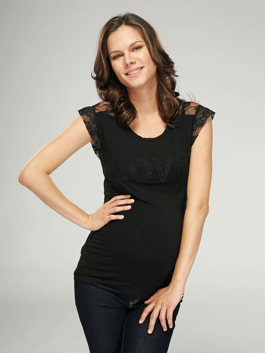 "Maternity Top with ""LOVE"" Applique in Lace"