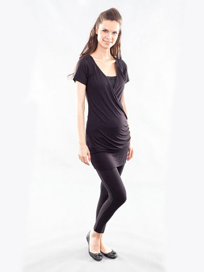 Maternity Tunic with Left Side Ruching for Pregnant Belly