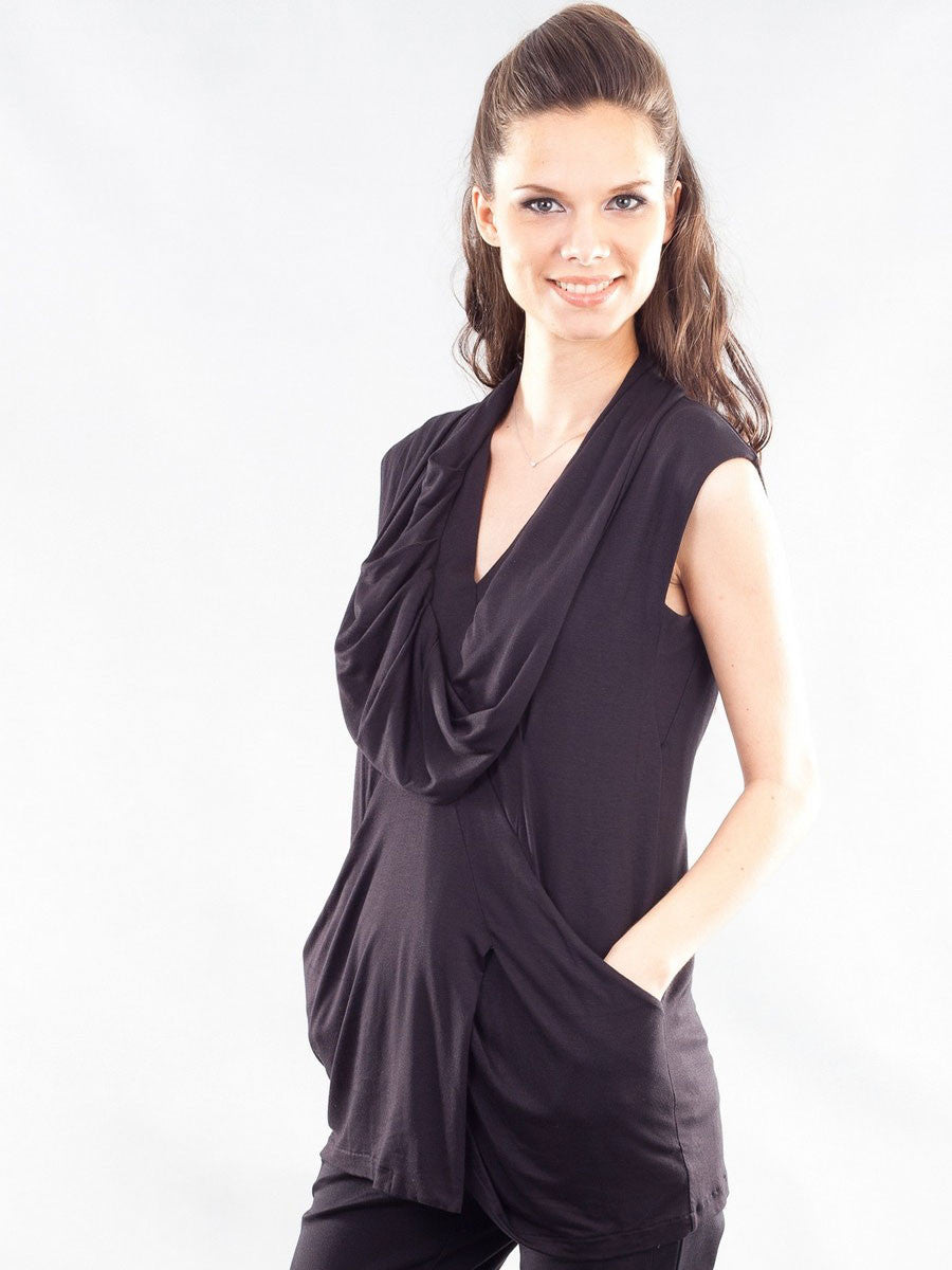 Bra-Friendly Sleeveless Drapey V-Neck Maternity Tunic