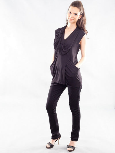 Stretchy Pleated Maternity Tunic Accommodates Growing Belly