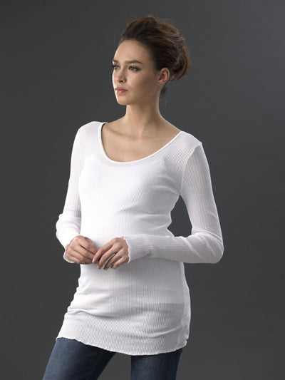 Long Sleeve Scoop Neck White Cotton Ribbed Maternity Tee