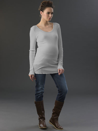 Maternity Wear Scoop Neck Cotton Ribbed Tee