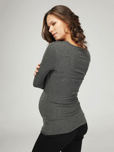 Long Sleeve Cowl Neck Winter Maternity Top for Warmth