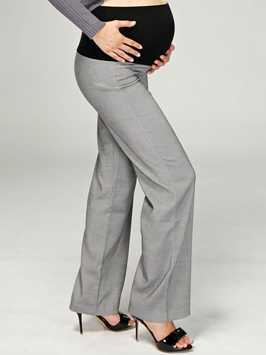 Maternity Herringbone Bootcut Work Pants - Side Profile