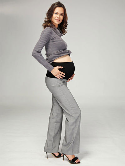 Maternity Herringbone Bootcut Work Pants - Side Profile with Details of Belly Panel