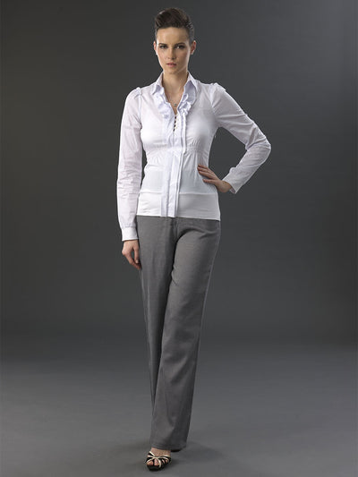 Maternity Herringbone Bootcut Work Pants Paired with Maternity Work Shirt