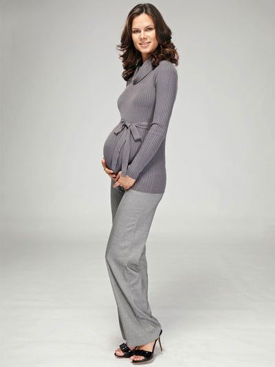 Maternity Herringbone Bootcut Work Pants Paired with Maternity Cowl Neck Knit Top