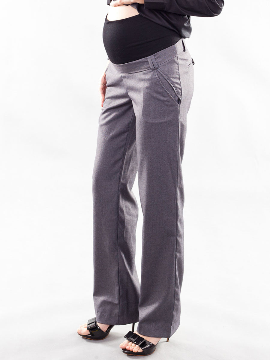 4-Pocket Straight Leg Maternity Work Pants with Belly Panel