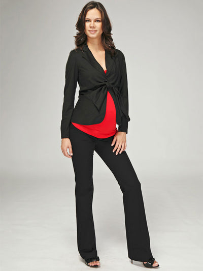 Slim Bootcut 2-Pocket Black Maternity Work Pants