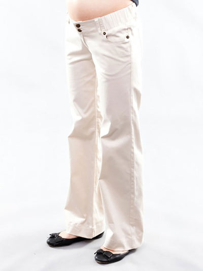 Woven Cotton Bootcut Maternity Pants