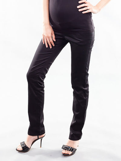 Skinny Maternity Woven Pants with Belly Panel