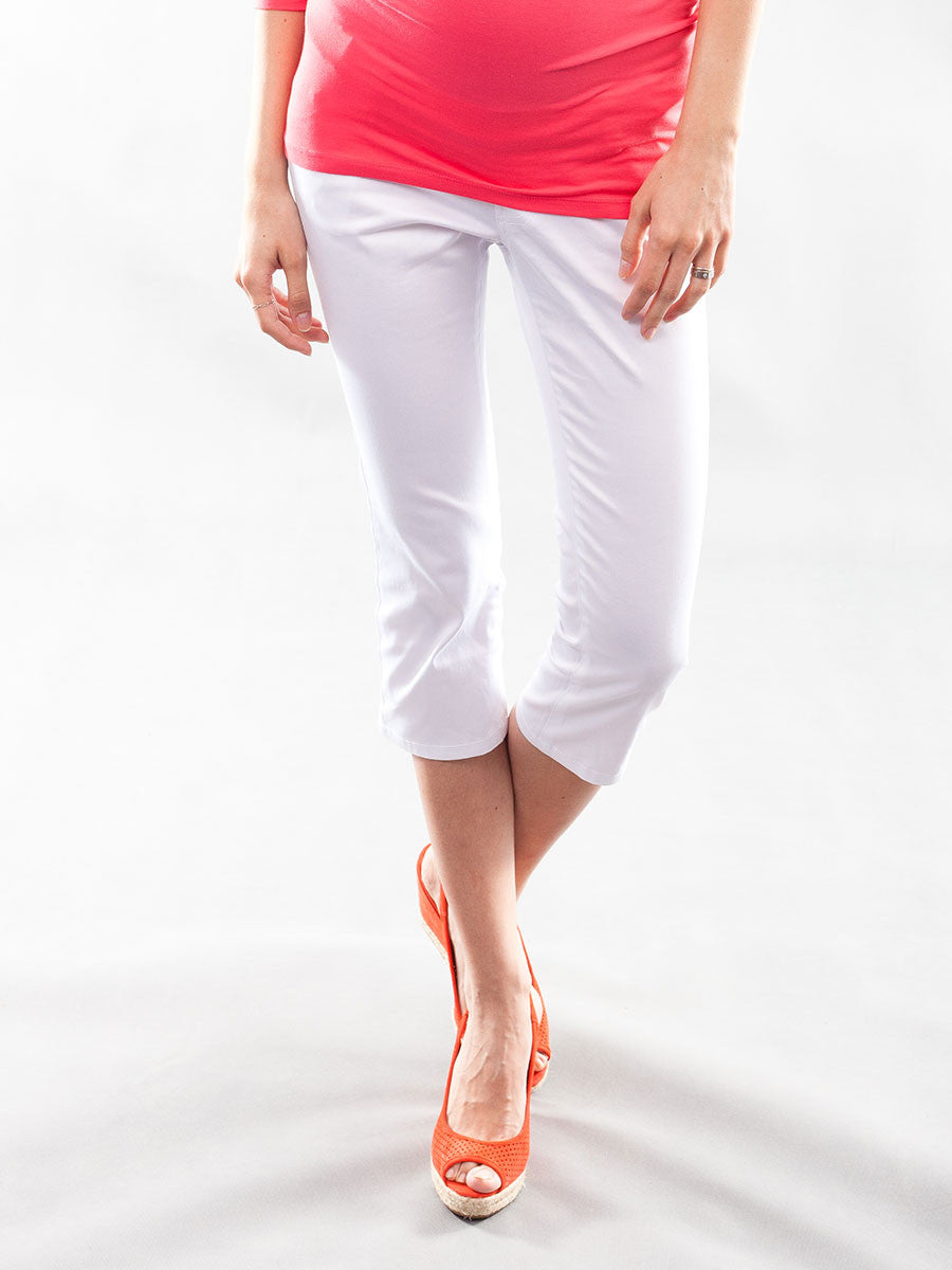 Slim Leg Cotton Maternity Crop Pants with Belly Panel
