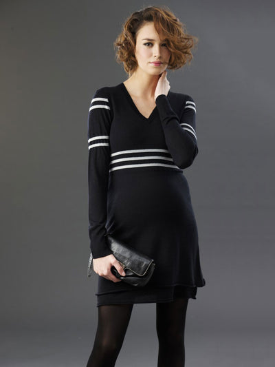 V-Neck Maternity Sweater Dress with Stripe Accents