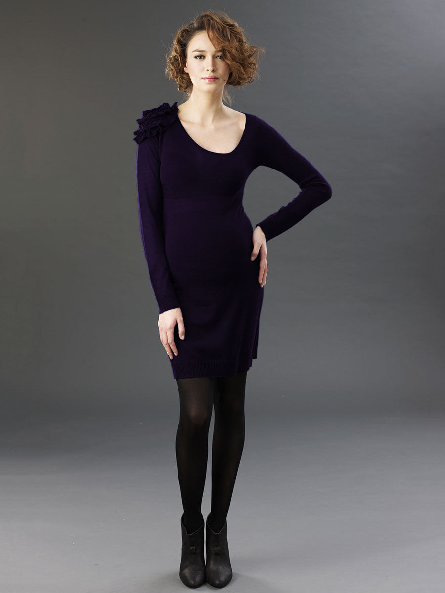 Maternity Wool Dress with Single Ruffled Flower