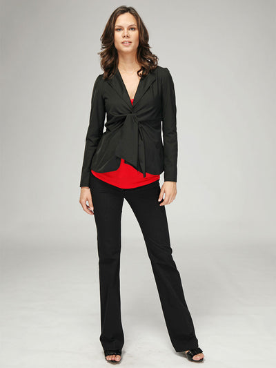 Maternity Front Tie Suit Jacket Paired with Matching Maternity Bootcut Work Pants