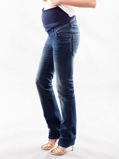 Slim Straight Leg Maternity Jeans with Pregnant Belly Panel