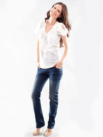 Slim Straight Maternity Jeans with Inside Elastic Accommodates Belly