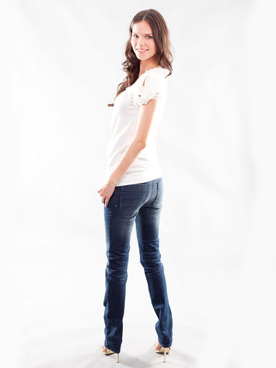 Five-Pocket Slim Straight Leg Maternity Jeans