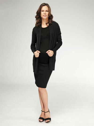 Maternity Open Front Cardigan Paired with Maternity Skirt