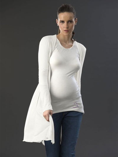 Maternity Long Pleated Cardigan with Side Pockets