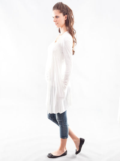 Maternity Long Pleated Cardigan with Side Pockets - Side View