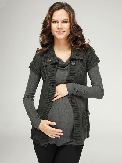 Maternity Short Sleeve Cable Knit Babydoll Open Front Cardigan