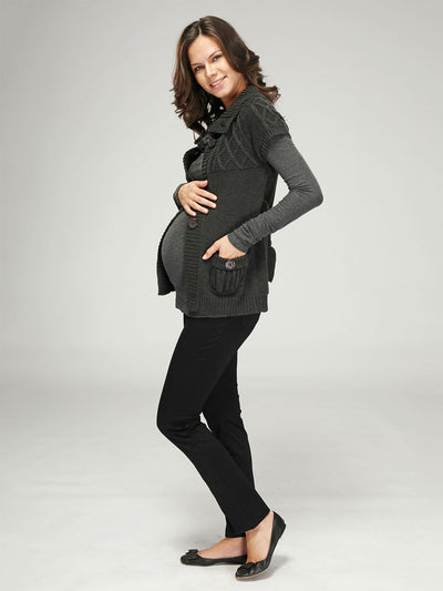 Maternity Babydoll Cardigan with Front Button Closure and Pleated Pockets