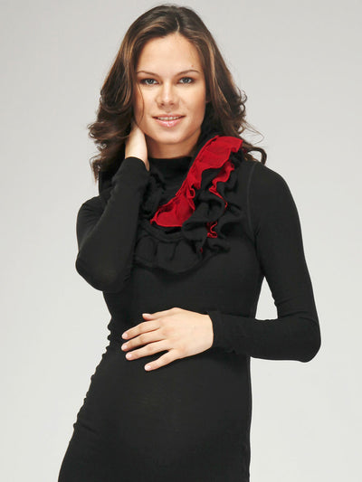Ruffled Cotton/Cashmere Black Infinity Scarf with Red Silk Chiffon