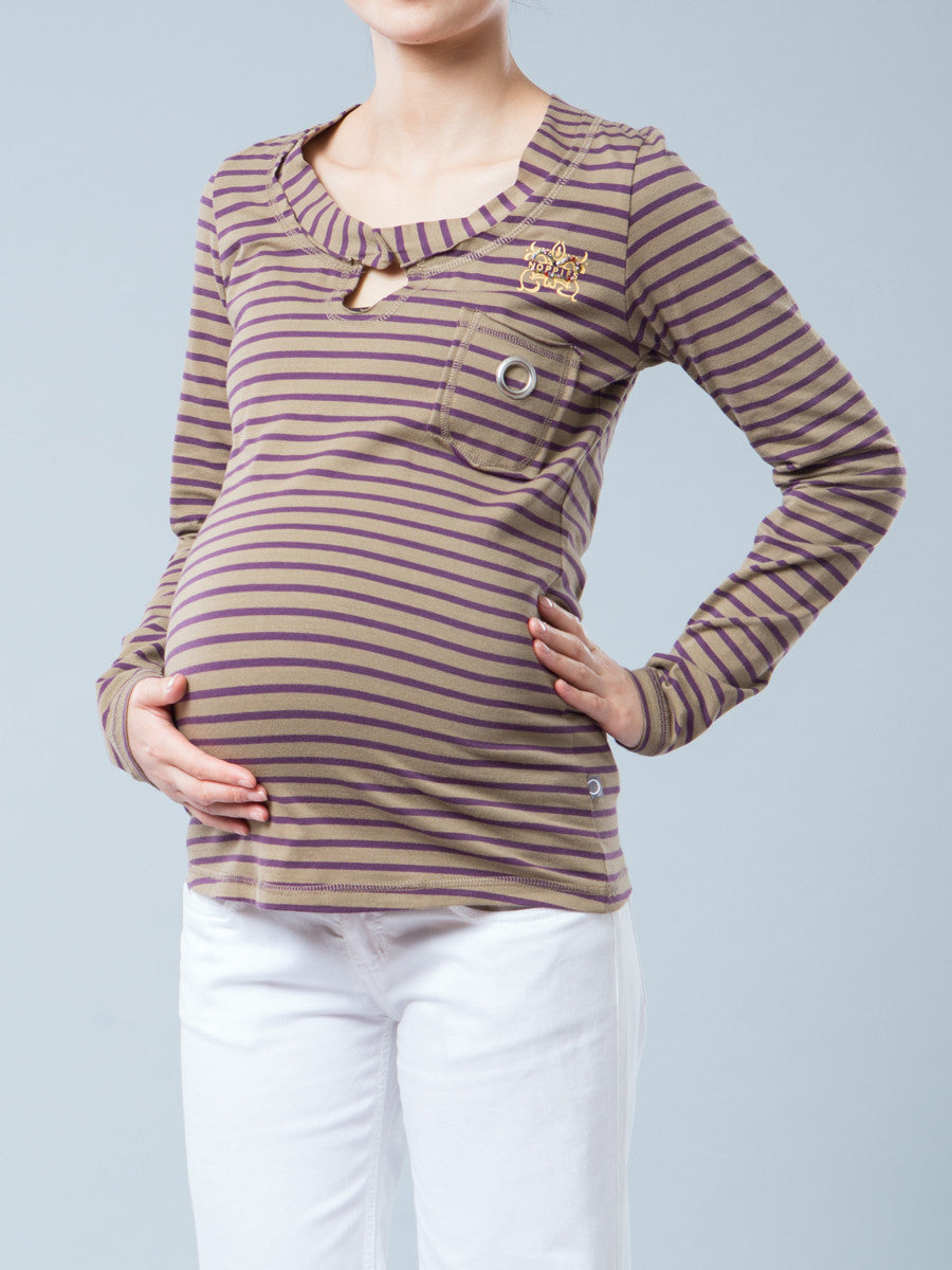 Noppies Striped Graphic Maternity Tee with Pocket
