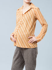Button-Up Striped Nursing-Friendly Maternity Blouse