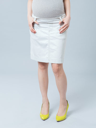Noppies Maternity Denim Skirt with Elasticized Pockets and Pleats