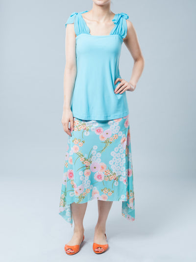 Stretchy Tank with Chiffon Shoulder Ties for Pregnant Belly