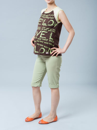 Maternity Graphic Tee with Love, Belly & Baby Wordings - Right Side Profile
