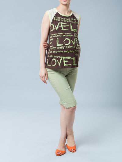 Maternity Graphic Tee with Love, Belly & Baby Wordings Paired with Green Colored Maternity Crop Pants