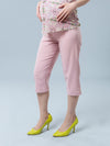 Slim Leg Pastel Color Maternity Crop Pants