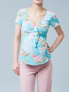 Maternity Floral Top with Neckline Ruffle & Crochet Details