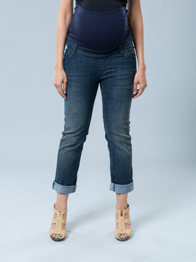Ankle Length Roll-Up Crop Maternity Jeans