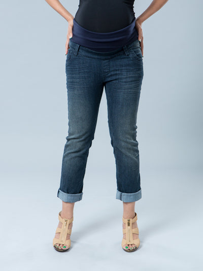 Crop Maternity Jeans with Pregnant Belly Panel