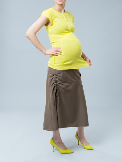 Maternity Henley Tee with Mini Sleeve Pocket - Bright Yellow Color - Paired with Maternity Long Skirt