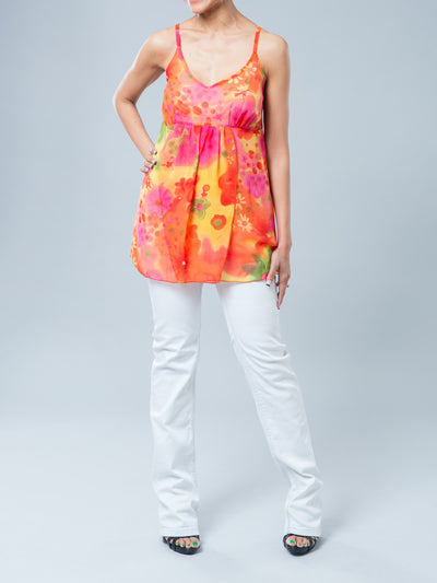 Maternity Flora Chiffon Tunic with Shawl Paired with Maternity Slim Straight Leg Light Blue Jeans