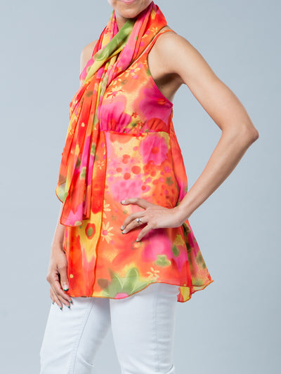 Maternity Flora Chiffon Tunic with Shawl - Side View