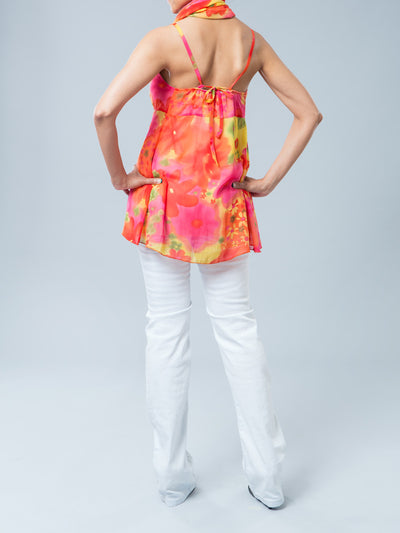 Maternity Flora Chiffon Tunic with Shawl - Back Tie Detail