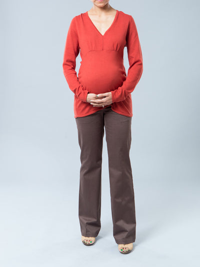 Sweater Top with Side Ruching Accommodates Pregnancy Belly